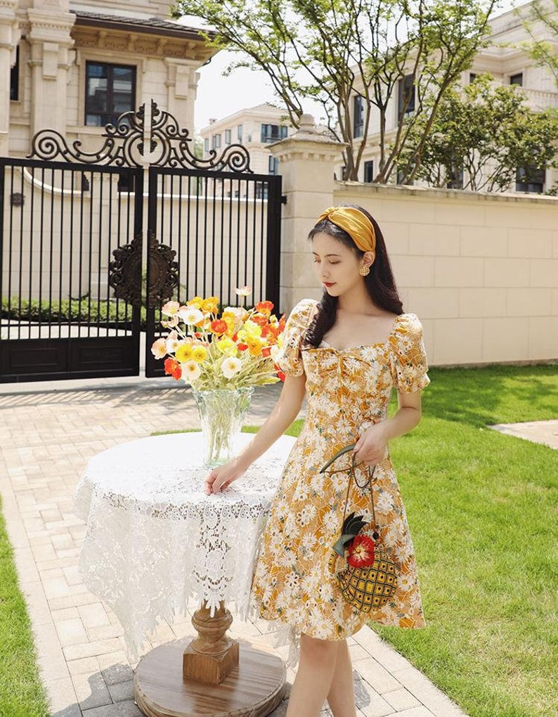 Above the Knee Water Yellow Daisies Mini Dress Mr Lovely Embroidery Dress