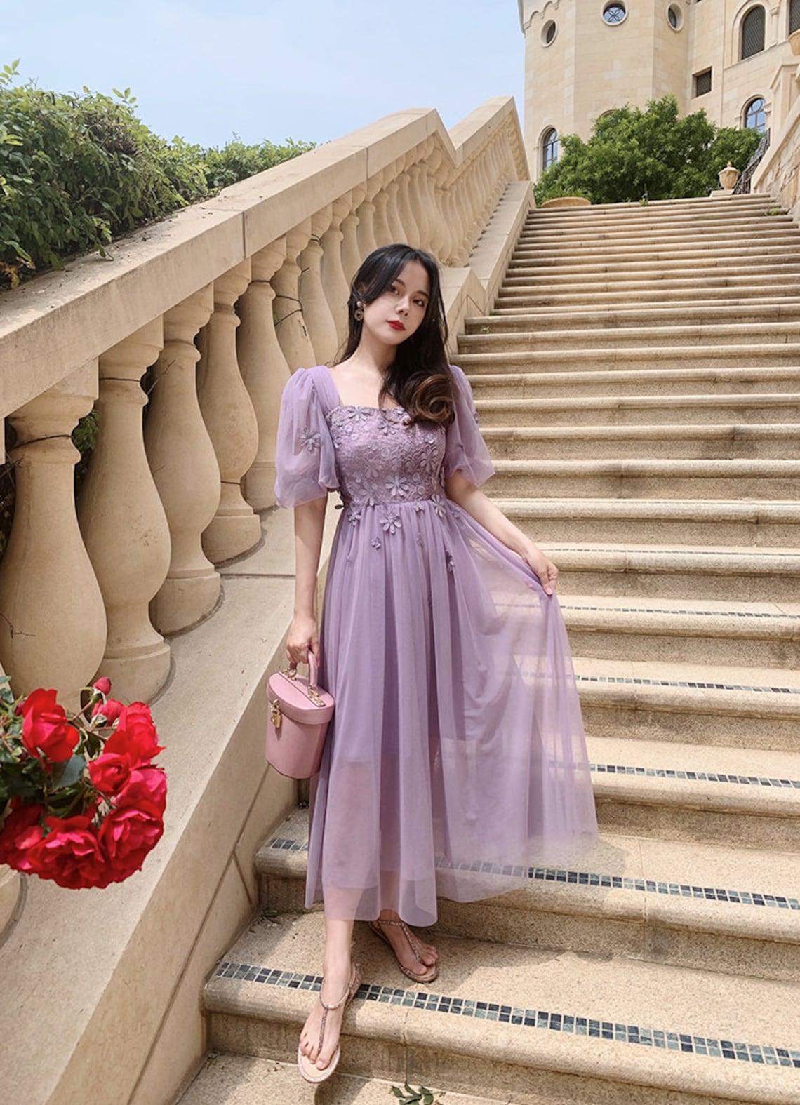 Mr. Water New York Purple Mesh Long Dress, Lace Dress, Hand Sewn Flower Dress.