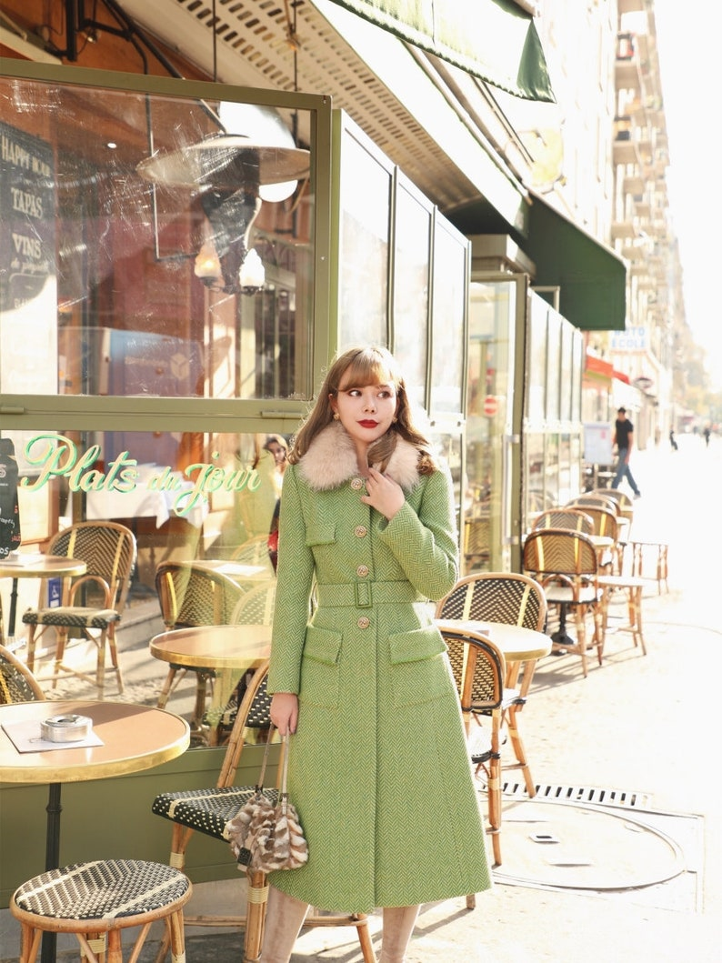 Vintage Coats & Jackets | Retro Coats and Jackets Mr. Water Womens Winter Coat Retro Style Coat Green Color Faux Fur Collar Removable. Wool Coat with Pockets Belt $289.00 AT vintagedancer.com