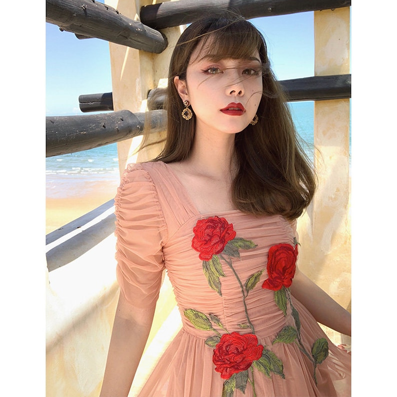01c5c4feb6a Mr. Water Rose Embroidered Dress French Vintage Style Pink