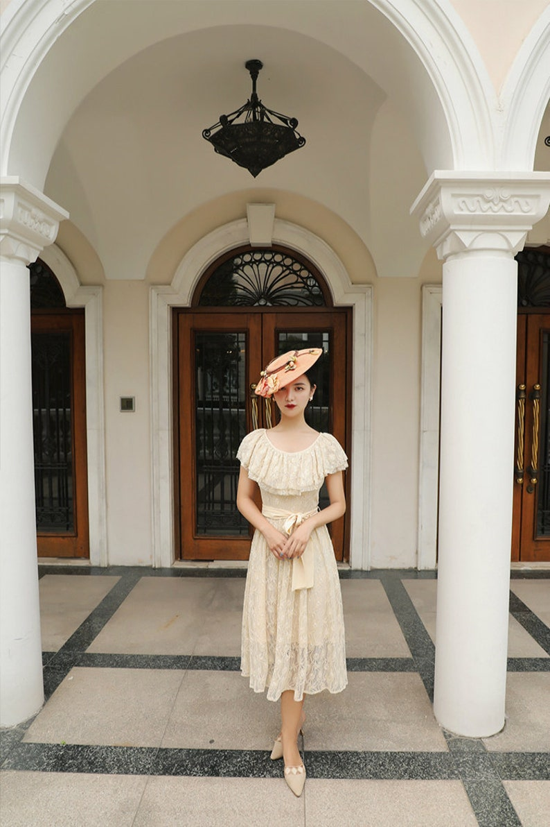 1940s Dress Styles Mr. Water French Style Lace Elegant Cream Ruffle Midi Dress $99.00 AT vintagedancer.com