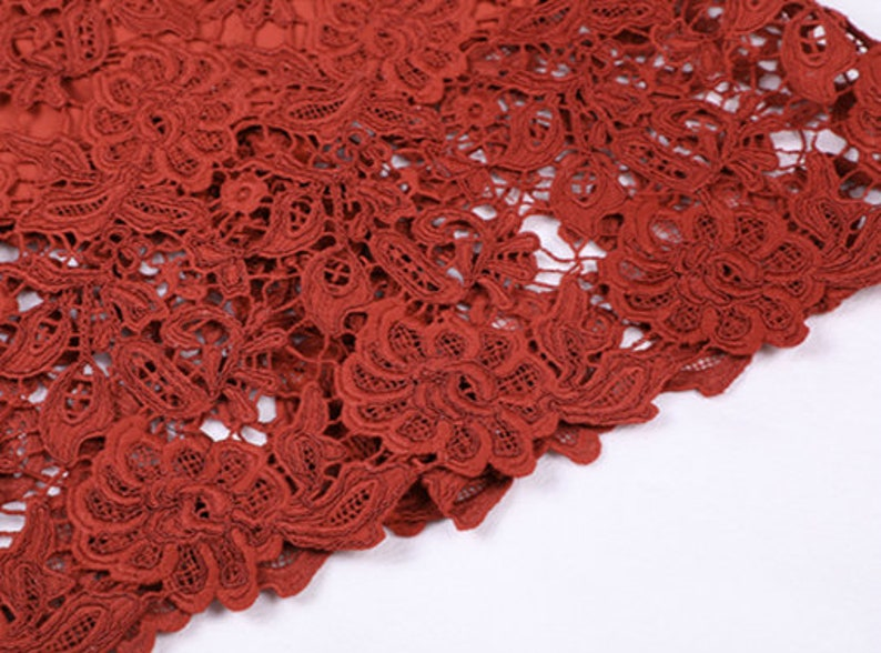 Mr RedPink. Lace Flower High Waist Skirt Water Retro Style Lace Skirt