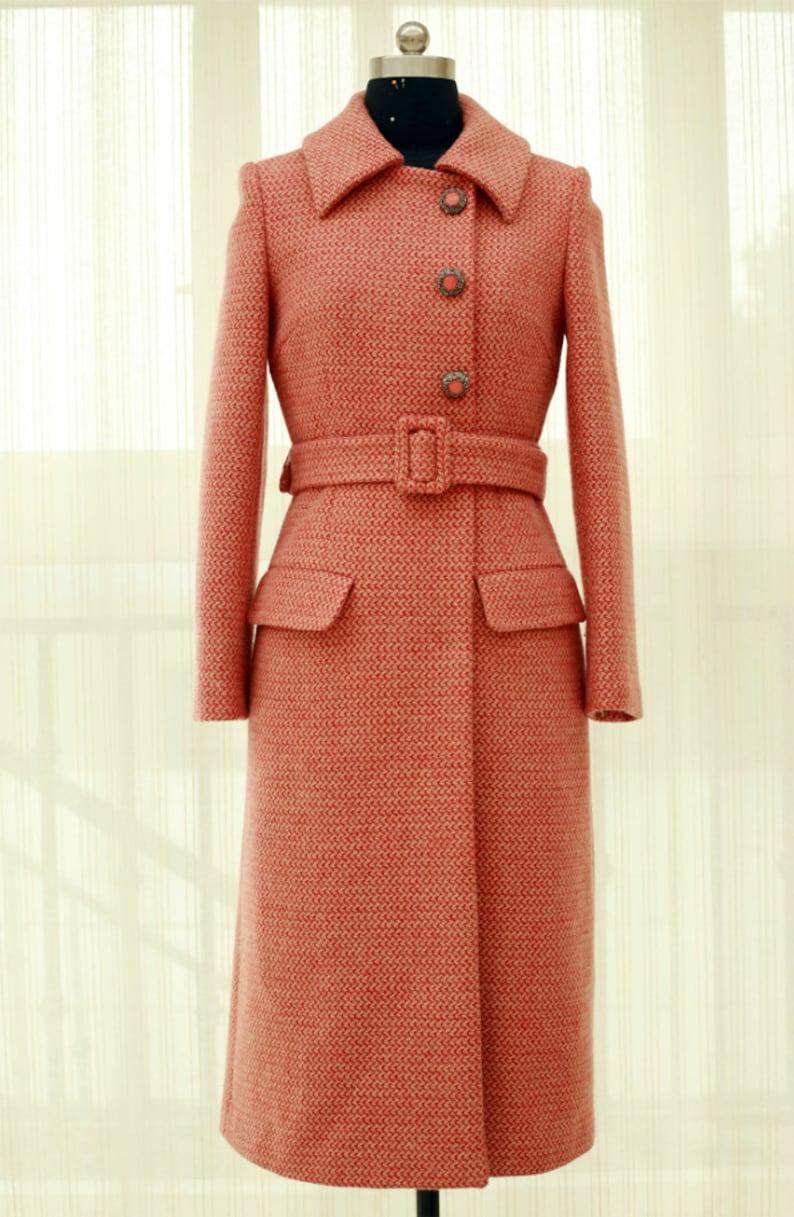 Vintage Coats & Jackets | Retro Coats and Jackets Mr. Water Winter Cozy Retro Style Wool Coat with Belt Fur Collar Long Coat Pockets $289.00 AT vintagedancer.com