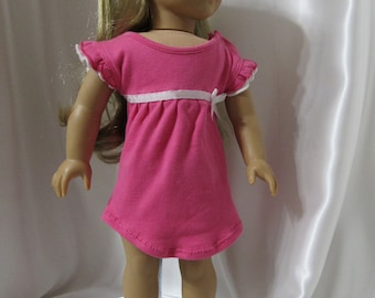 """Short pink sleeveless knit dress or top for 18"""" dolls."""