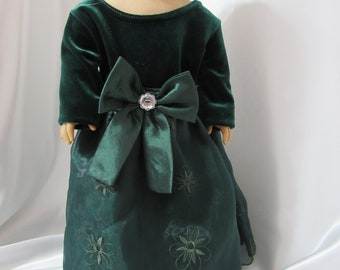 """Long-sleeved party dress for 18"""" dolls."""