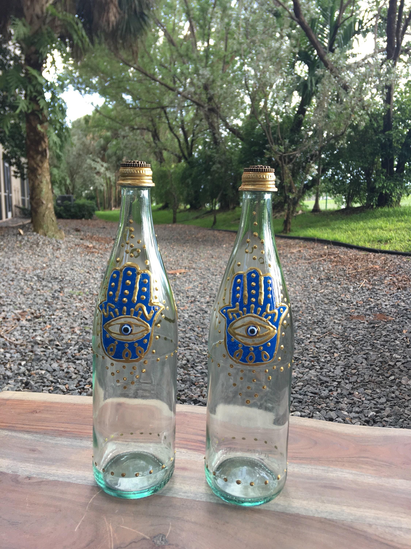 Middle Eastern Style Hamsa reusable glass bottles