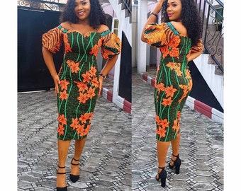 ab5f04a862 African midi dress Ankara party dress African Fashion Handmade cloth African  Shop