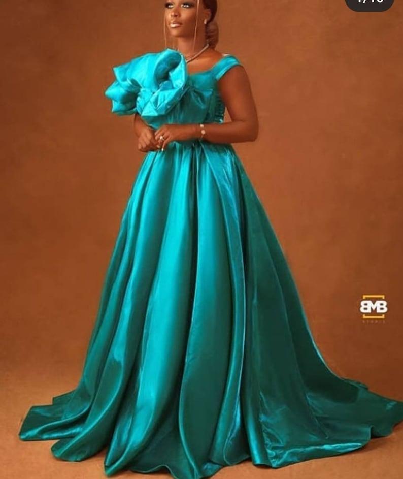 African floor mermaid prom dresslong African dress for promblue mermaid prom dressAfrican clothing for womenAfrican ball gown