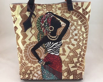 """Tote bag """"African jewelry"""" (canvas and leather)"""