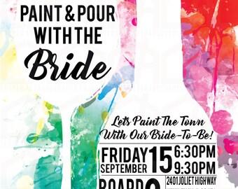 Paint & Pour With The Bride Bachelorette Party Invite