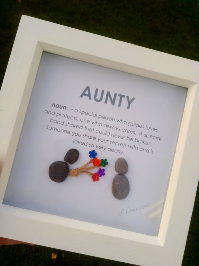 Auntie pebble art  Aunty pebble art  aunt pebble art  gift for auntie  auntie Christmas  aunty birthday  gifts for her  auntie frame