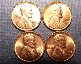 1958 D Lincoln Wheat Cent Penny Cash Money Vinage