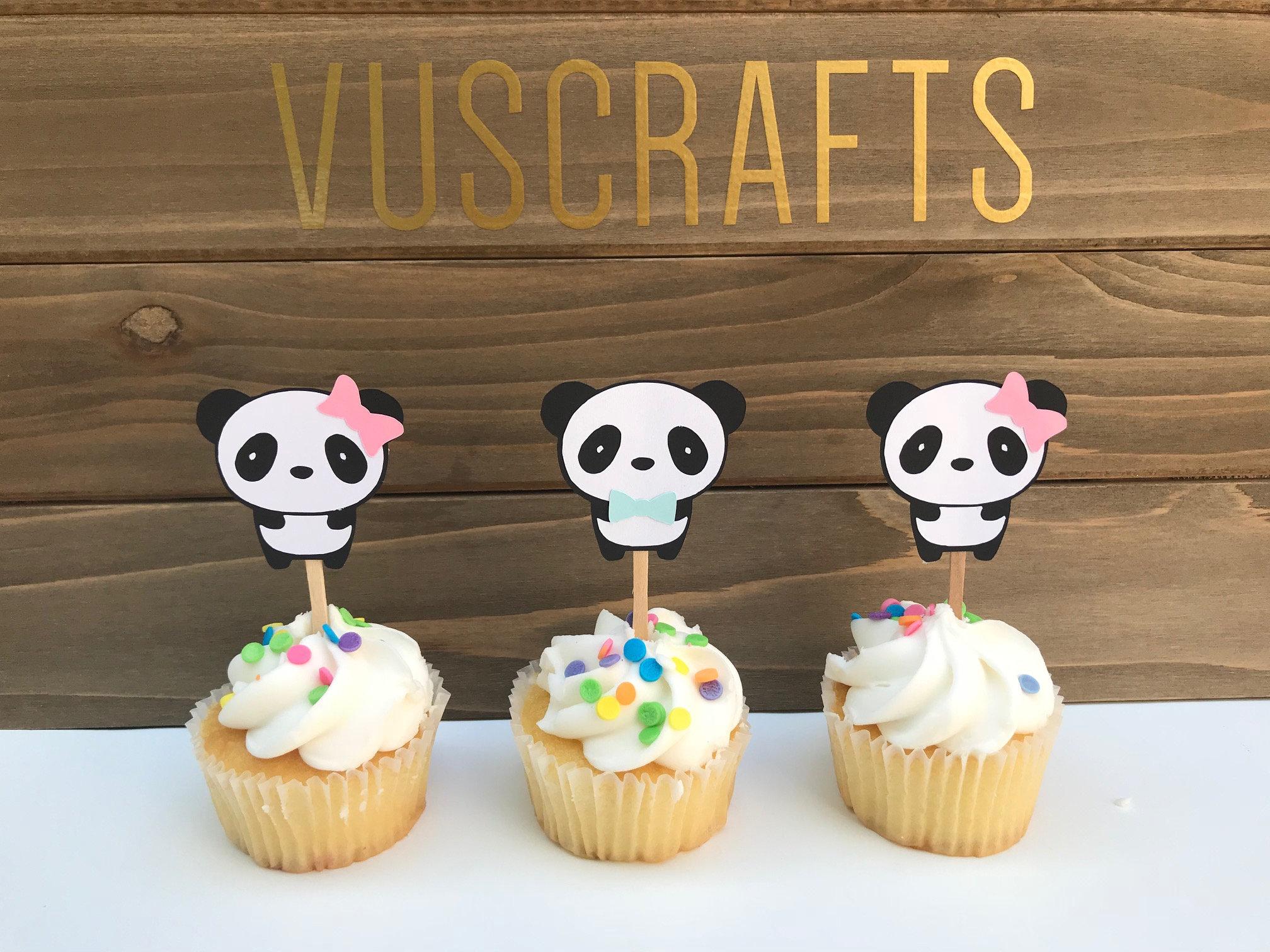 Panda Party Decorations: 12 Panda Bear Cupcake Toppers Party Picks Panda Party