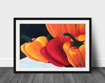 Original Still Life Painting Fall Peppers and Pumpkin