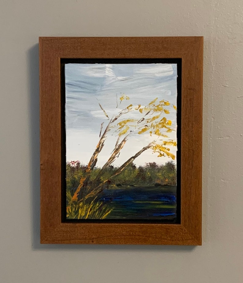 7x5 oil on gessoboard It Was the Only Sound We Heard lake. 2019; framed autumn landscape painting with yellow leaves