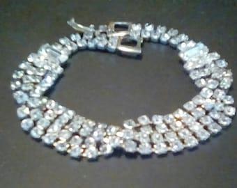 Vintage Rhinestone Bracelet, Unmarked Bracelet With Four Rows Of Round Rhinestones Rhodium Backed, Two Emerald Cut Clear Rhinestones