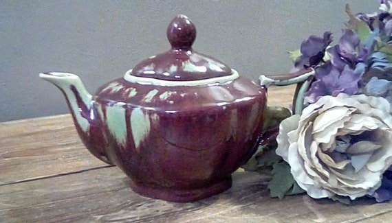 Pottery Teapot Vintage Bombay Teapot With Unusual Brown And Etsy