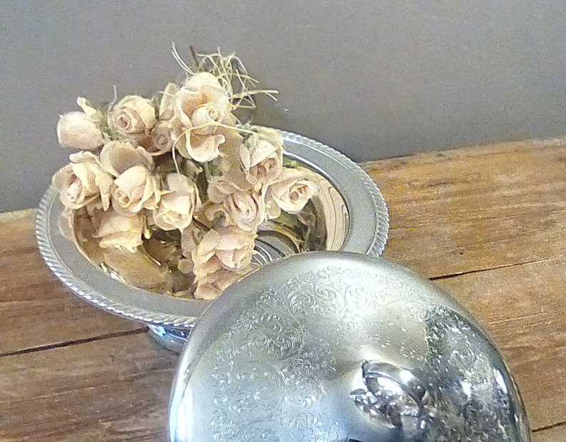 Vintage Silver Plate Bowl with Lid, Rogers Silver Covered Bowl on Sturdy Base, Etched Bowl with Finial, Rope Trim Around Bowl, 10 1/2 Bowl