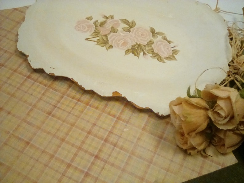 Vintage tray shabby chic metal tray tray with paper rose etsy