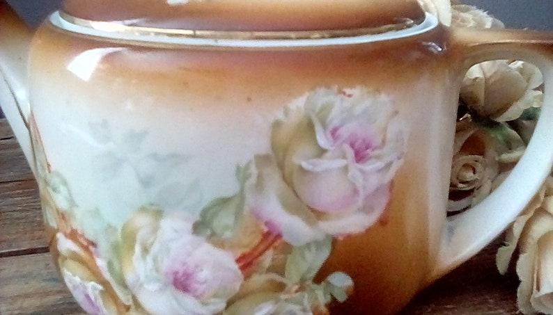 Antique Teapot, M Z Austria Porcelain Teapot, 1920s Porcelain Teapot, Hand  Painted with Gold Leaf Trim  Great Glazing, 5