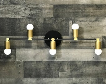 Bristleback Wall Sconce 5 Bulb Vanity Light Bathroom Mid Century Modern Fixture Contemporary Lighting