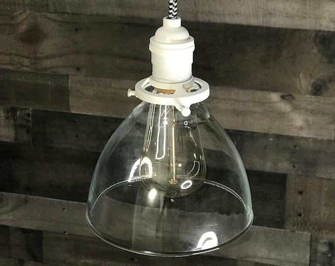 Matte White Modern Pendant Light 6 Inch Glass Shade Hanging Light Fixtures Pendant Lamps