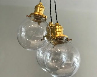 Lagom Cluster Light Fixture 6 Inch Clear Globes Pendant Kitchen Hanging Light Multi Light