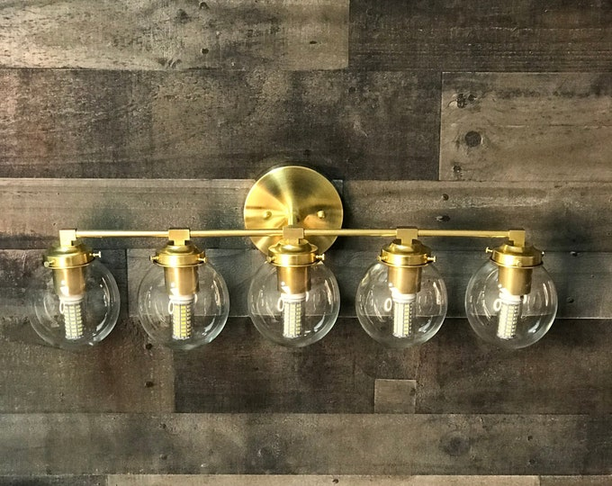 Shoshin Gold Raw Brass Modern Wall Sconce Vanity 5 Bulb Clear 5 Inch Globe Abstract Mid Century Art Light Bathroom Light