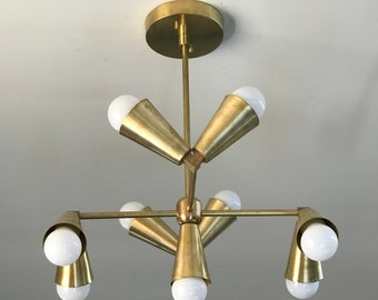Okeanos Raw Brass Mid Century Modern Industrial 9 Geometric Sputnik Ceiling Light