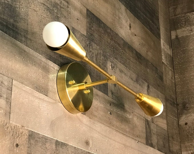 Rame Gold Raw Brass Modern Wall Sconce Vanity 2 Cone Bulb Modern Mid Century Industrial Light