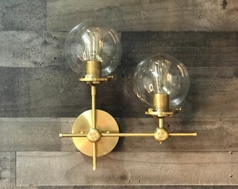 Pyrobolum Modern Mid Century Wall Sconce Industrial 2 Light 6 Inch Clear Globes Vanity Light