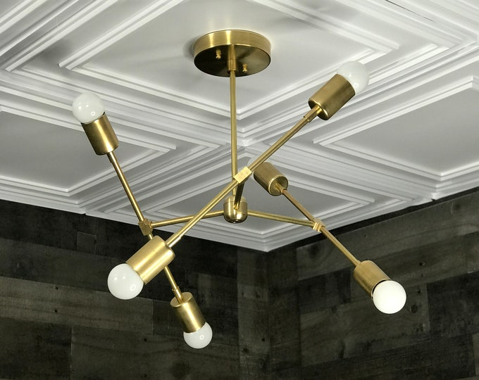 Linus Gold Raw Brass Modern Geometric Sputnik Chandelier 6 Light Mid Century Industrial Light