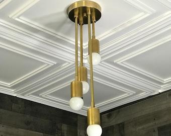 Astros Modern Semi Flush 4 Bulb Abstract Descending Light Sputnik Mid Century Industrial Light