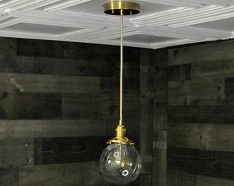 Sweven Modern Pendant Light Gold Brass - 6' Clear Glass Globe - Hanging Light Fixtures - Pendant Lamps