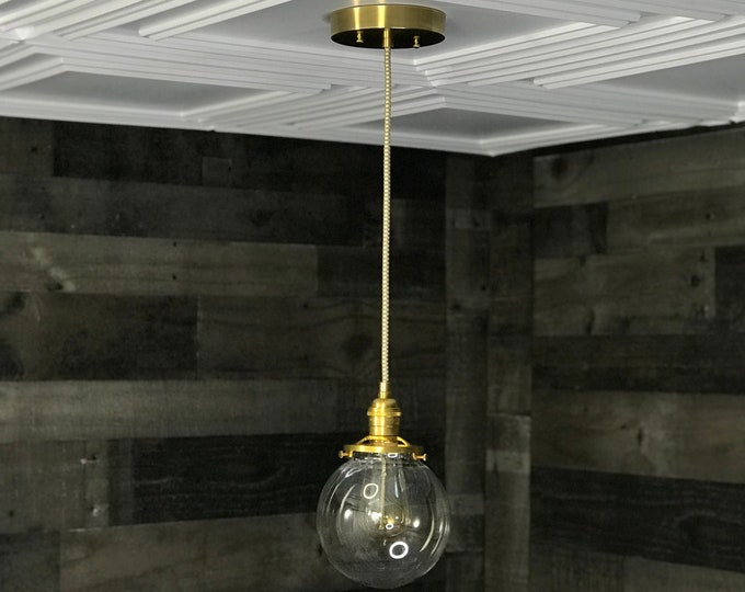 Sweven Modern Pendant Light Gold Brass - 6' Clear Glass Globe - Hanging Light Fixtures - Pendant Lamps