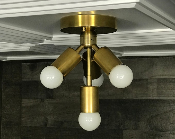 Aphrodite Modern Chandelier Gold Raw Brass 4 Bulb Mid Century Semi Flush Light