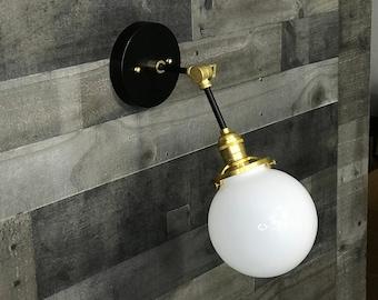 Floraison Black & Brass Single Light Adjustable Sconce Clear 6in. Globe Vanity Mid Century Industrial Modern Light