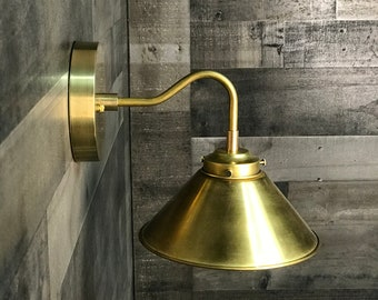 Honne Gold Raw Brass Wall Sconce Single Light 8 Inch Cone Shade Vanity Mid Century Modern Light