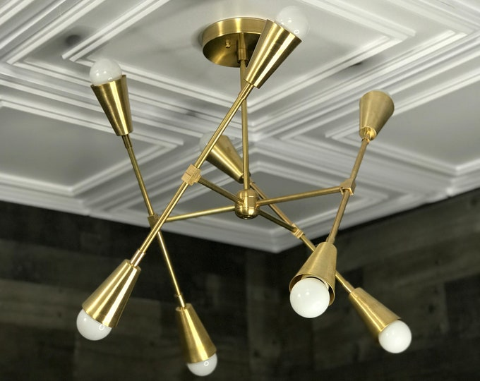 Goya Gold Raw Brass Modern Geometric Sputnik Chandelier 8 Cone Light Mid Century Industrial Light