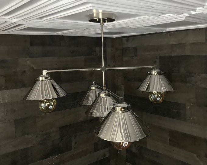 Eonian Polished Nickel Modern Chandelier 5 Bulb 8in Shade Hanging Ceiling Light