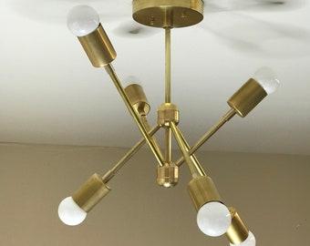 Alpas Gold Raw Brass Modern Chandelier 6 Bulb Geometric Mid Century Industrial Hanging Ceiling Light