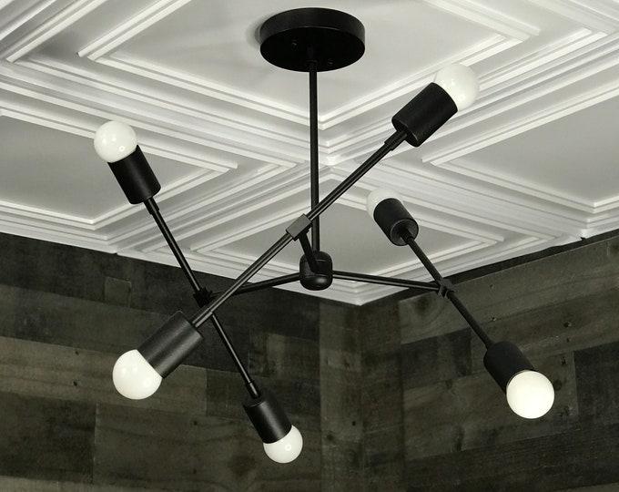 Linus Matte Black Modern Geometric Sputnik Chandelier 6 Light Mid Century Industrial Light
