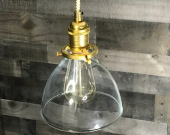 Gold Raw Brass Modern Pendant Light 6 Inch Glass Shade Hanging Light Fixtures Pendant Lamps