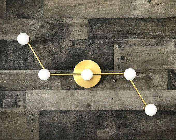 Voeux Gold Raw Brass 5 Light Wall Sconce Modern Industrial Vanity Hallway Bathroom Light
