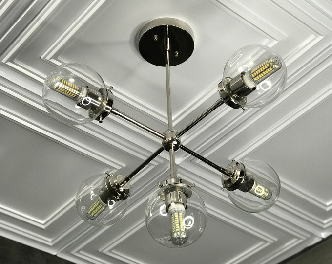 Paine Modern Sputnik Chandelier 5 Bulb 5 Inch Globes Mid Century Industrial Hanging Ceiling Light