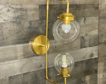 Renao Modern Wall Sconce Double Light 6 & 5 Inch Globe Vanity Mid Century Industrial Art Light