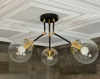 Senja Modern Sputnik Adjustable Chandelier 3 Light 6 Inch Globe Mid Century Industrial Light