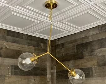 Doux 4 Light 6 Inch Clear Globe Semi Flush Kitchen Living Room Hanging Light
