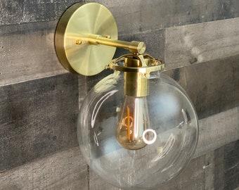Taro Wall Sconce Single Light 8 Inch Globe Vanity Mid Century Industrial Modern Art Light
