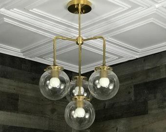 Loco Modern Sputnik Chandelier 4 Bulb 6 Inch Globe Mid Century Industrial Hanging Ceiling Light